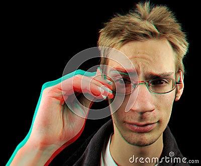 3D Red Cyan Glitch Man