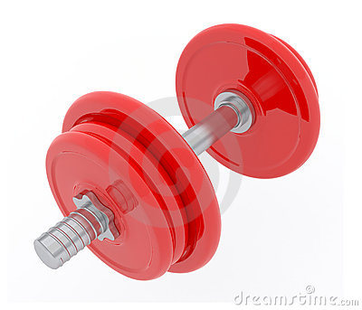 3d red Dumbbell
