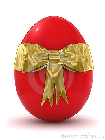 3d red Easter egg with golden bow icon