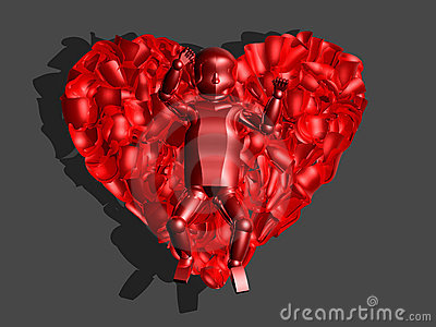 3D red glass baby in heart