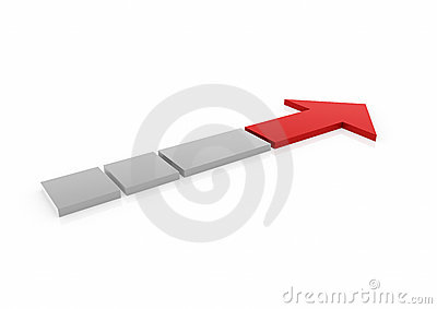 3d red gray arrow high
