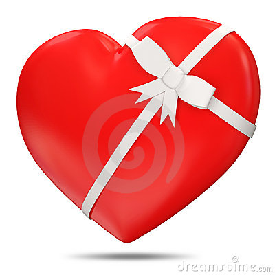 3d Red Heart with Bow on white background