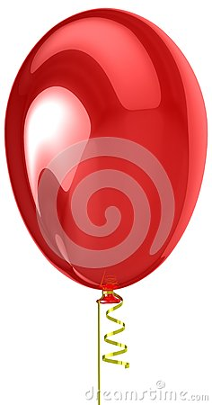 3d red helium balloon.