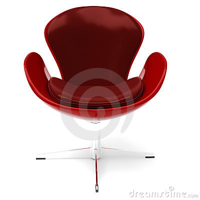 3d red leather armchair, isolated on white