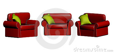 3D red leather chairs