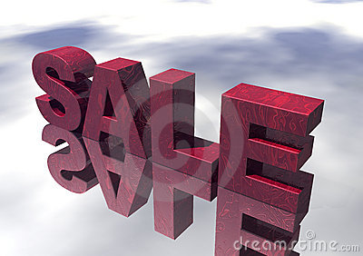 3D Red Marble Sale Sign