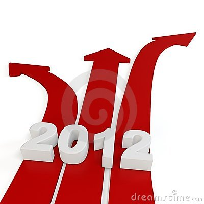 3d red path arrows with 2012