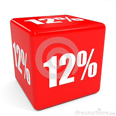 Free 3D Red Sale Cube. 12 Percent Discount. Royalty Free Stock Photography - 56225897