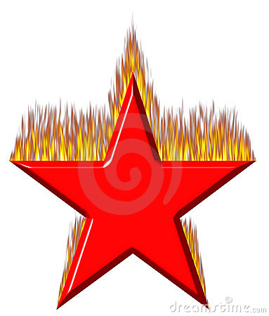 3D Red Star on Fire