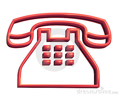 3D red telephone