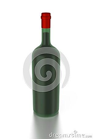 3d red wine bottle