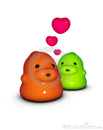 3d render of 2 little monster creature in love
