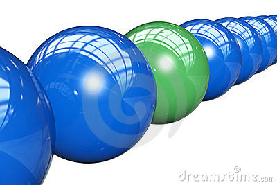 3d render of balls in row