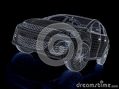 3d render car. Wireframe.