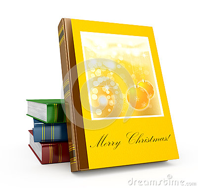 3d render christmas book on a white background