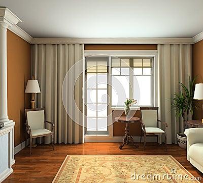 3D render classic interior of living-room
