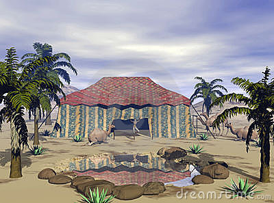 3D Render Desert Oasis