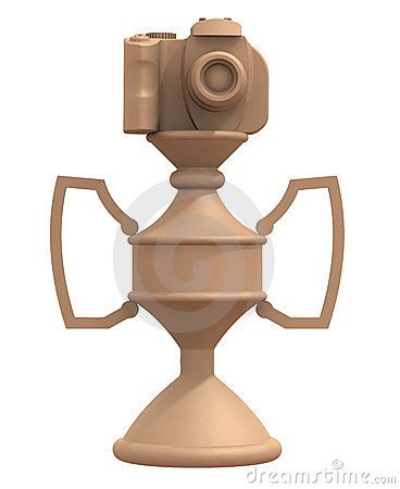 3d render DSLR camera trophy