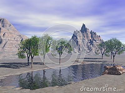 3D Render Fantasy Desert Lake