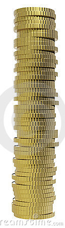 3d render of gold coin currency.