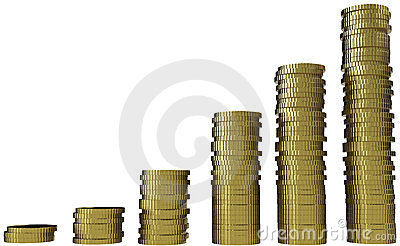 3d render of graph with gold coin currency.