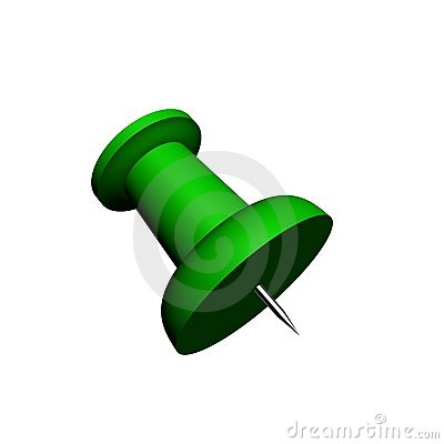 3D render of a green push-pin