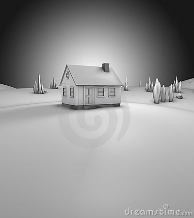 3D render of a house  (grey)