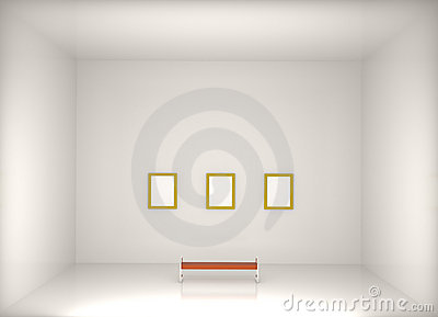 3d render modern art gallery