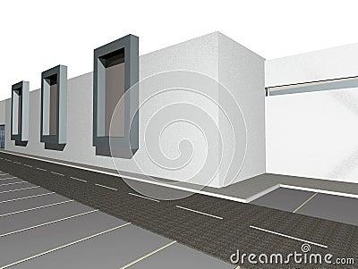 3D render of modern building exterior