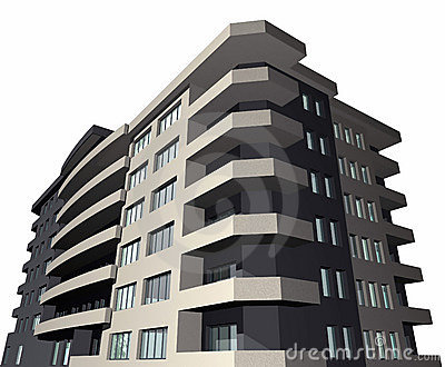 3D render of modern house building