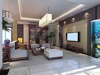 Modern living room interior 3d render stock photos   image: 17490313