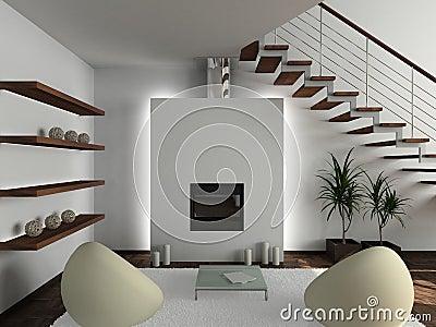 3D render modern interior of living-room