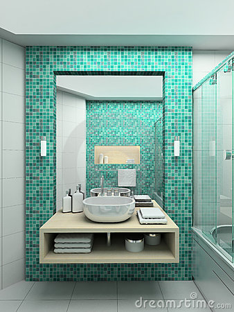 Free 3D Render Modern Interior Of Bathroom Royalty Free Stock Image - 4959356