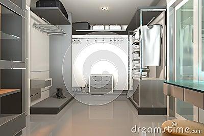 3D render modern interior with walk-in-closet