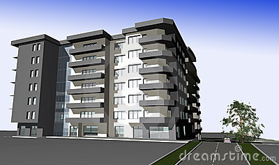 3D render of modern residential building