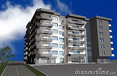 3D render of modern residential building