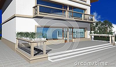 3D render of modern residential house