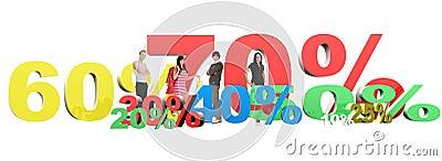 3d render of percent set