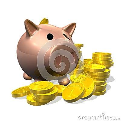 3d render piggy bank and coins illustration