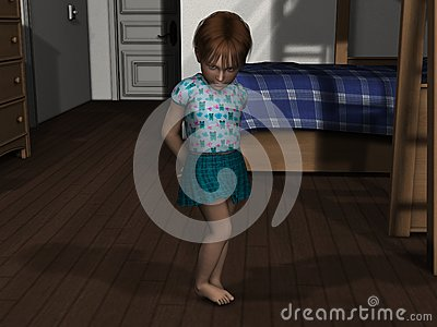 3D Render Shy Young Girl