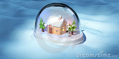 A 3D render of a snowglobe