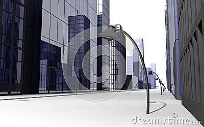 3D render of street