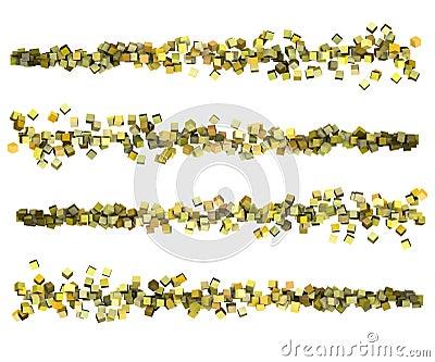 3d render strings of cubes in multiple yellow