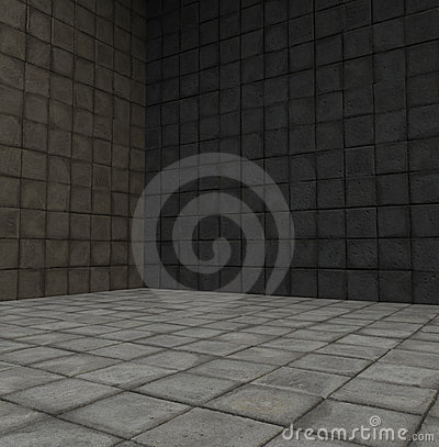 3d render tiled stone empty space