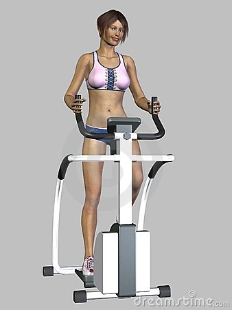 3D Render Woman Exercising