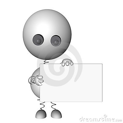 3d rendered character holding a message board