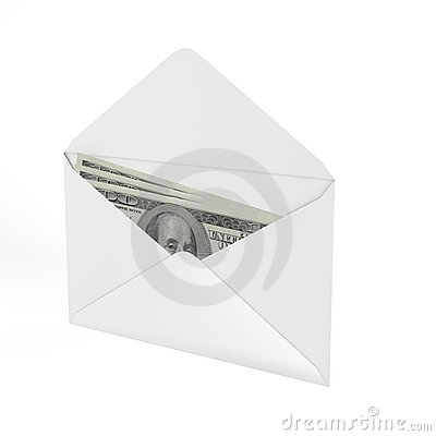 3d Rendered Envelope with a money.