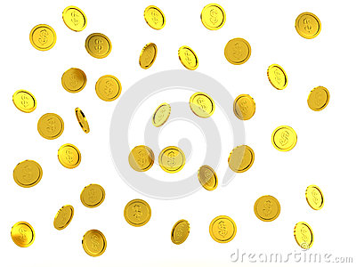 3d rendered failing golden coins