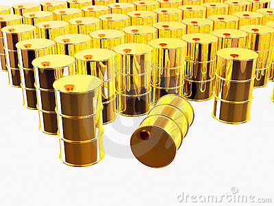 3D rendered gold oil barrels