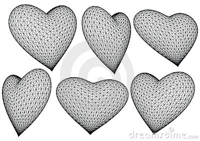 3d rendered hearts - vector